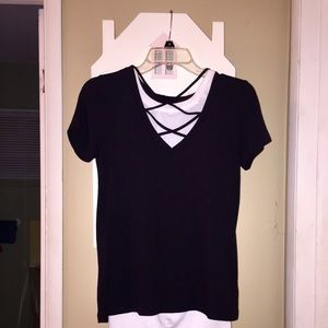 Express Strappy Front Tee Black XS NWT